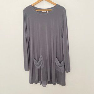 LOGO Lori Goldstein Large Long Sleeve Top Gray